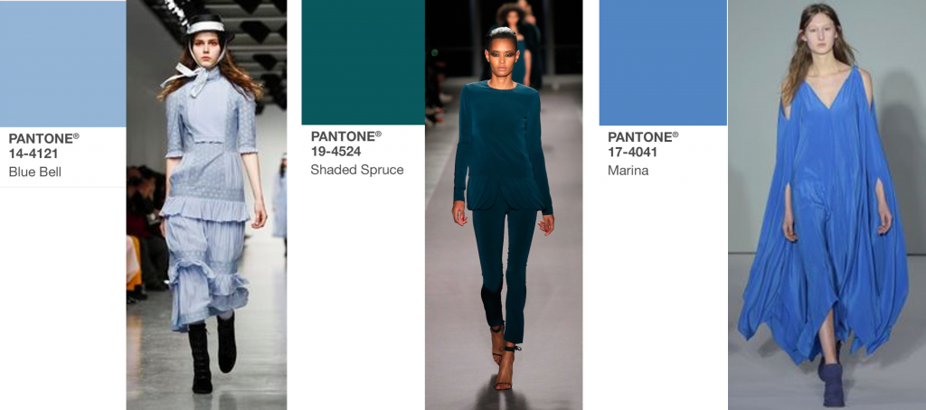 modekleuren najaar 2017 Marina, Blue Bell en Shaded Pruce